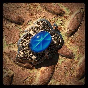 Blue Vintage Star Glass Silver Tone Leaf Pendant